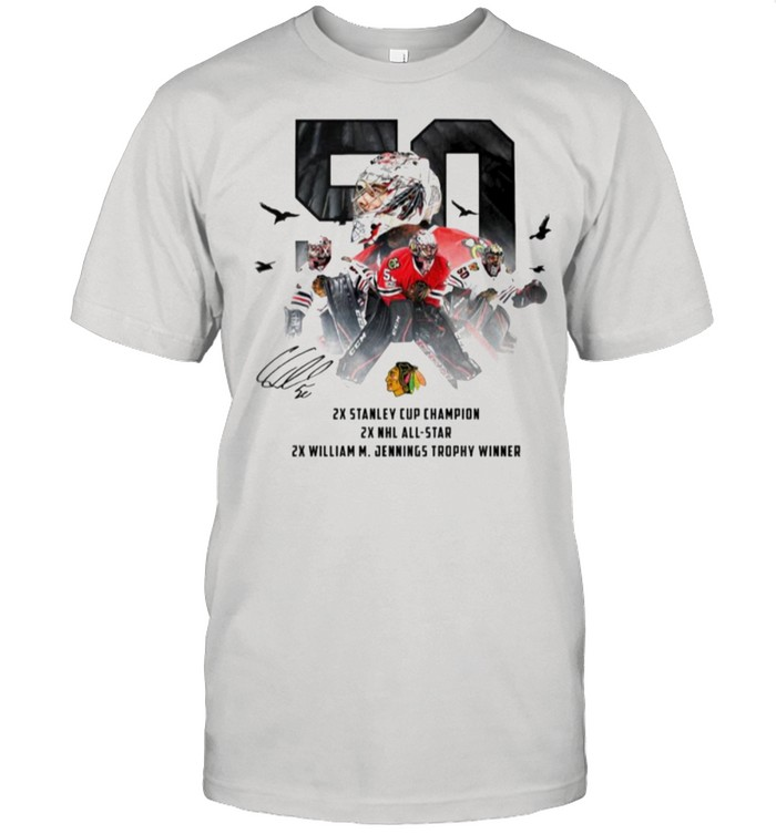 50 Corey Crawford Chicago Blackhawks 2x Stanley Cup Champion 2x NHL all-star 2x William M Jennings trophy winner shirt