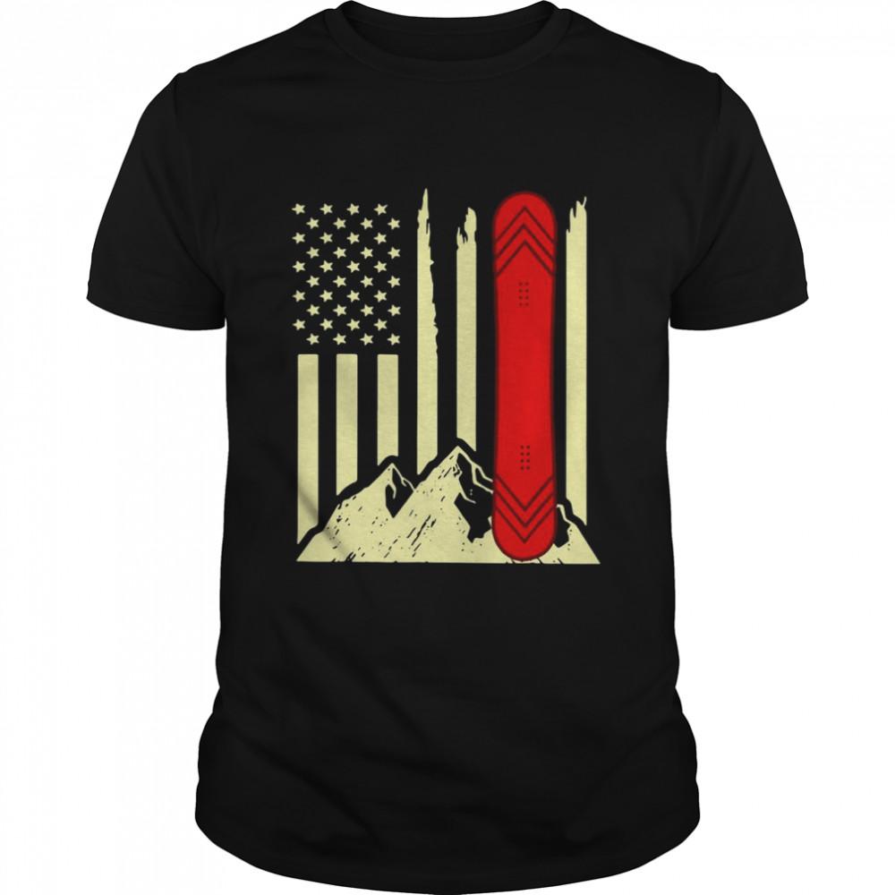 Snowboarding Skiing Snowboard American Flag Shirt