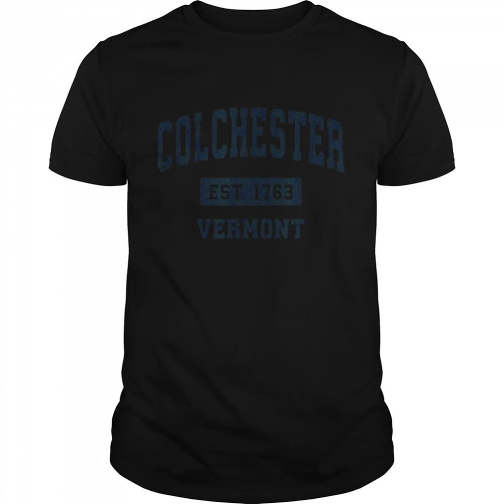 Colchester Vermont VT Vintage Sports Design Navy shirt