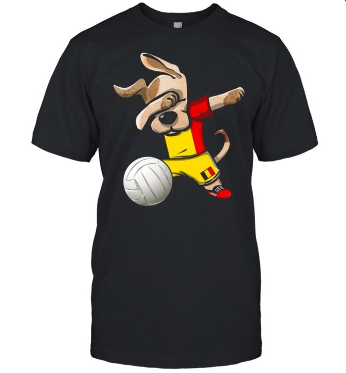 Dabbing Dog Proud Belgium Volleyballs Belgian Flag shirt
