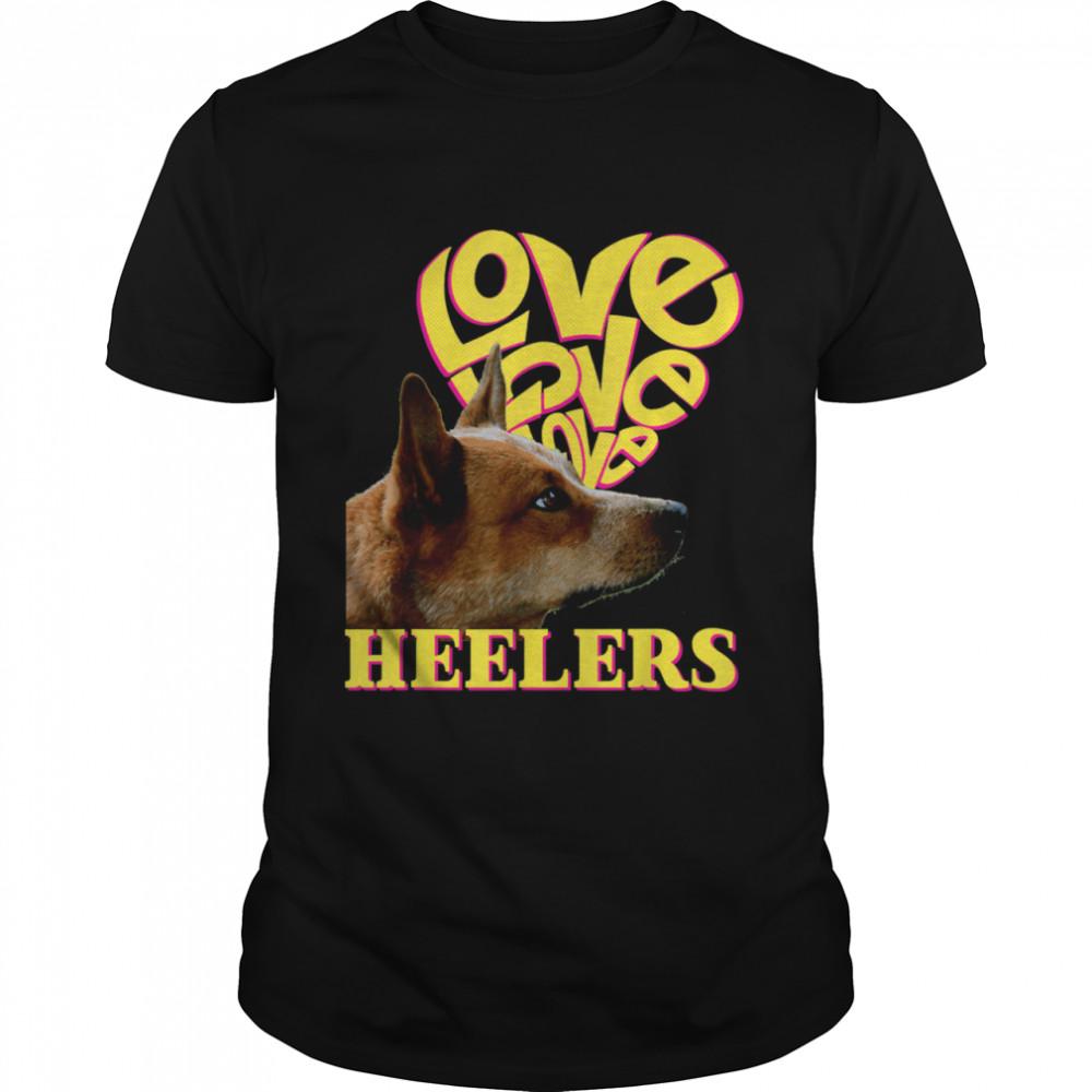 Heeler Love Red Heeler Dog Vintage Retro Heart Rescue shirt
