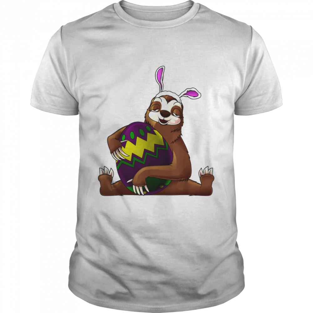 Cool Lazy Sloth Bunny On Easter Sunday Egg Shirt