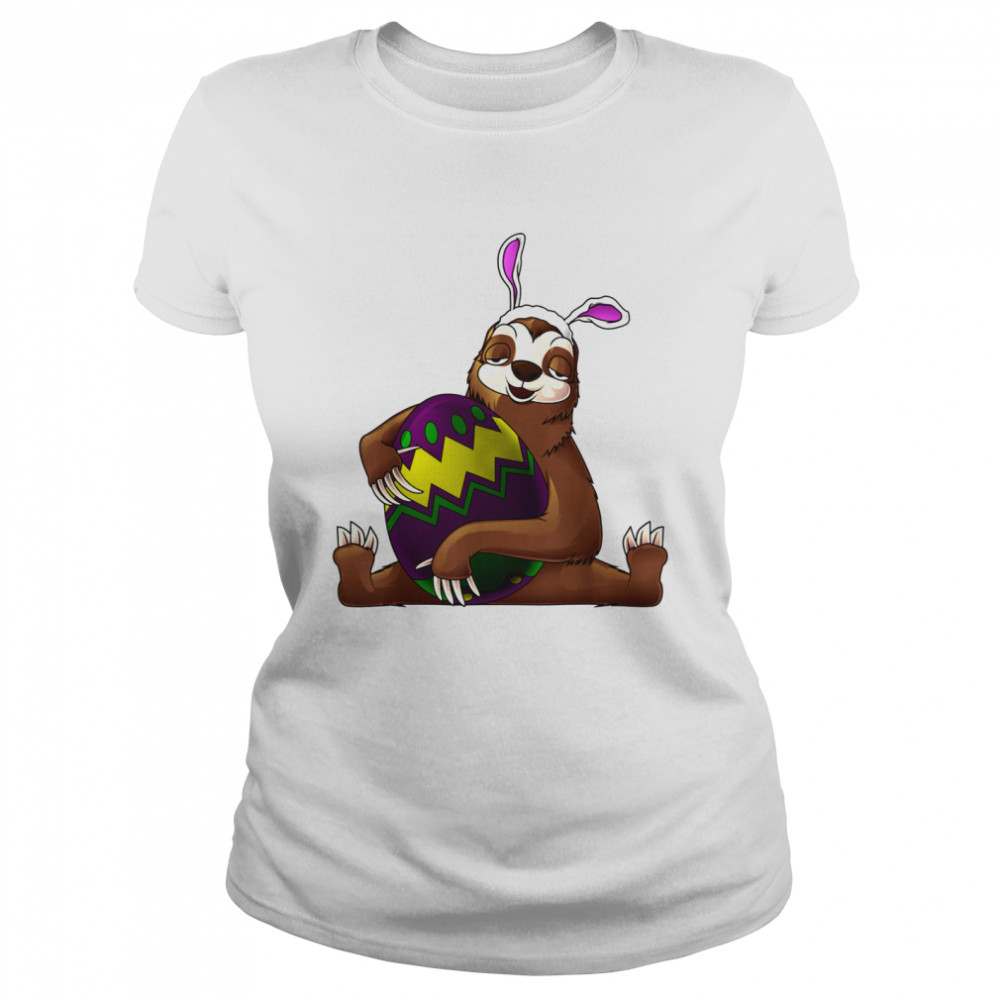 Cool Lazy Sloth Bunny On Easter Sunday Egg  Classic Women's T-shirt