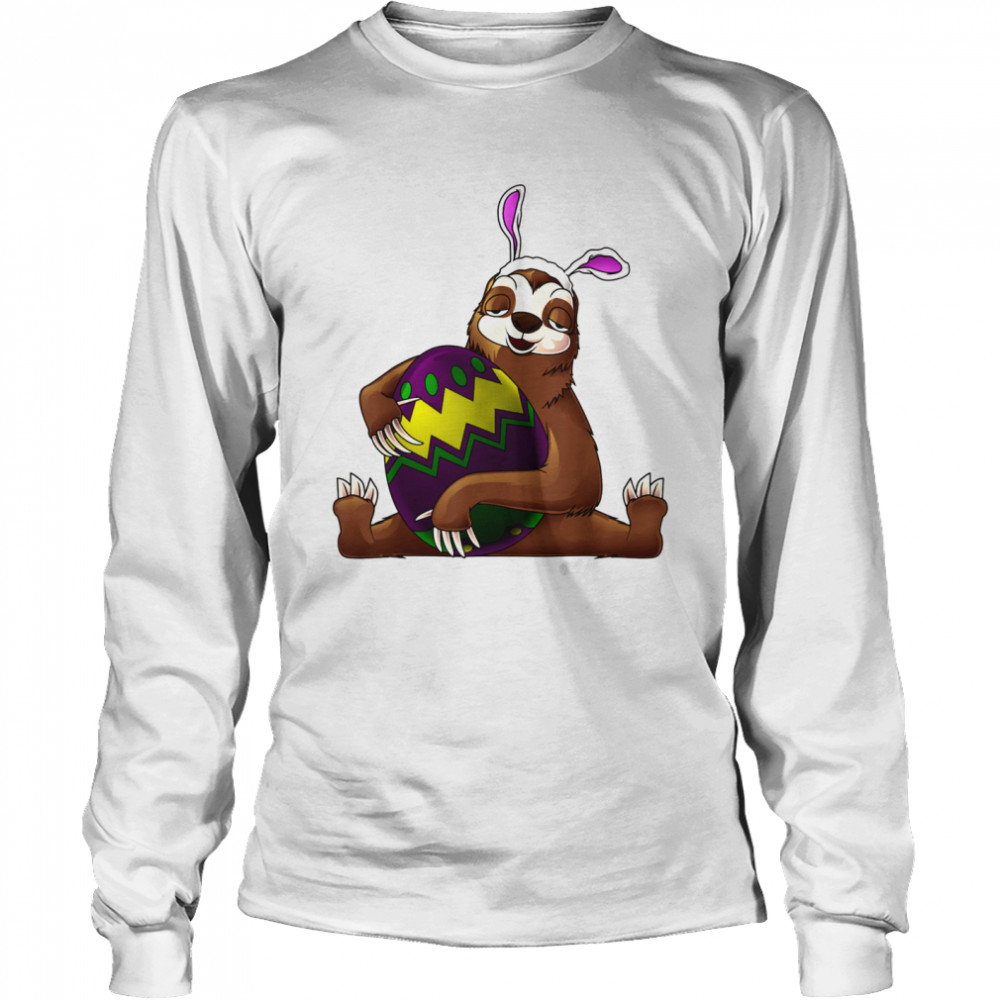 Cool Lazy Sloth Bunny On Easter Sunday Egg  Long Sleeved T-shirt