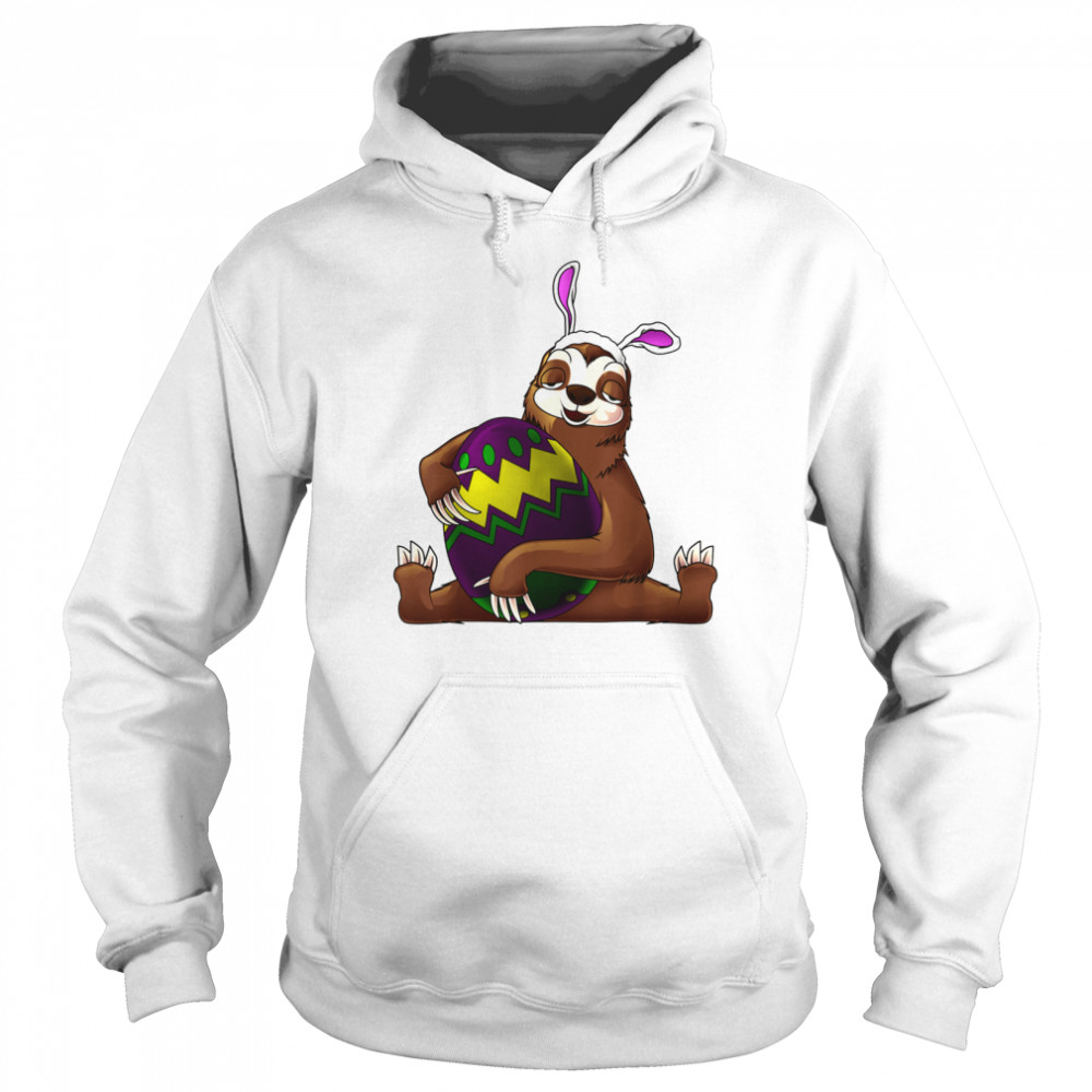 Cool Lazy Sloth Bunny On Easter Sunday Egg  Unisex Hoodie