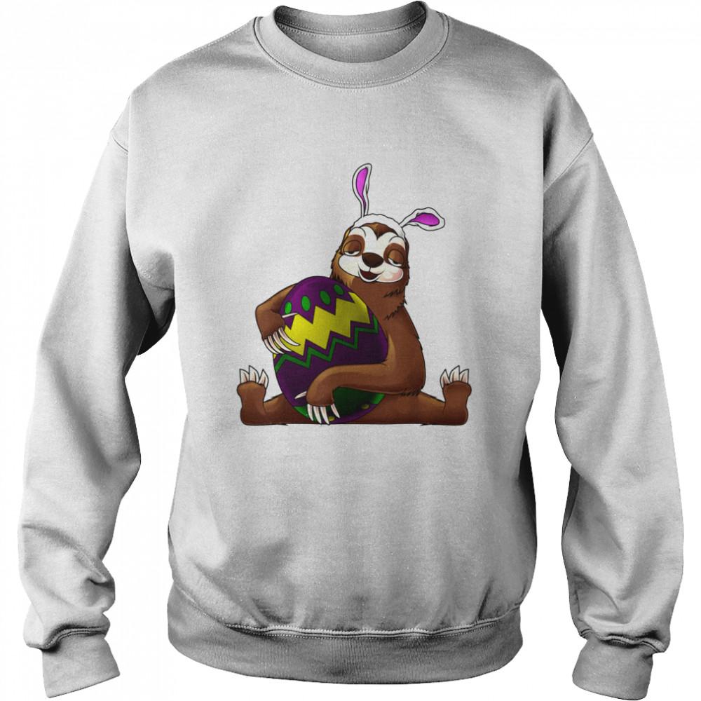 Cool Lazy Sloth Bunny On Easter Sunday Egg  Unisex Sweatshirt