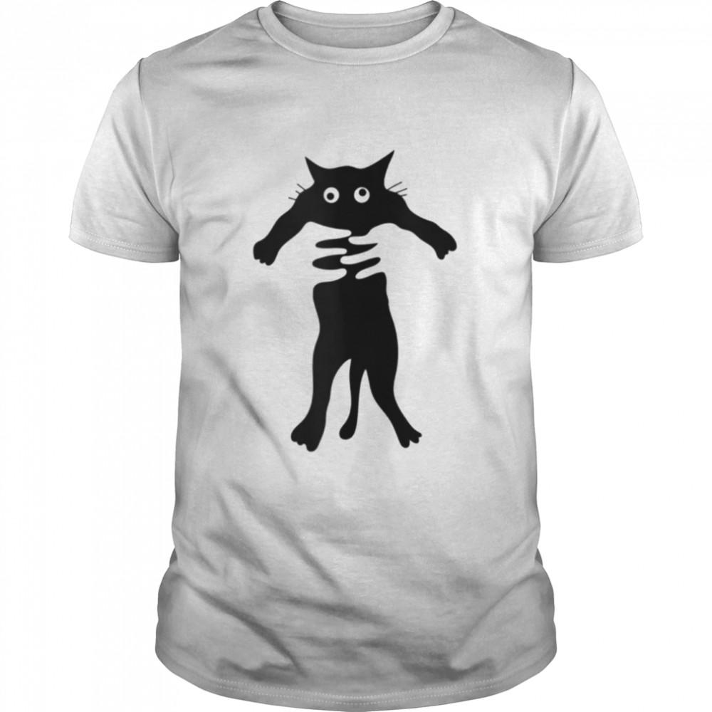 crosseyed cat being hugged shirt