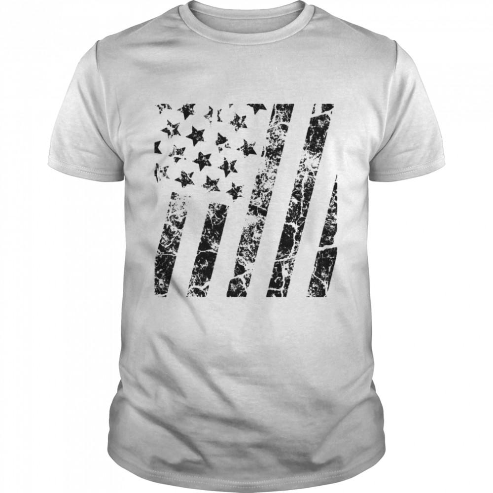 Distressed Black White Boys Girls American Flag Shirt