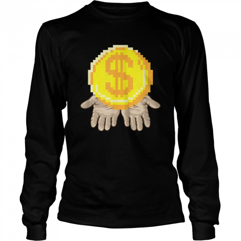 Gold Coin In Open Hands Entrepreneur Dream  Long Sleeved T-shirt