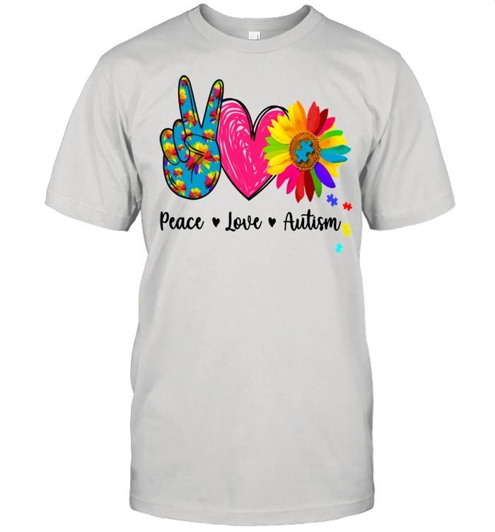 Peace Love Autism Puzzle Autism Awareness Shirt