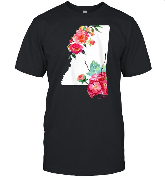 Womens Mississippi Vintage Rose State Map Pride Patriotic Floral shirt