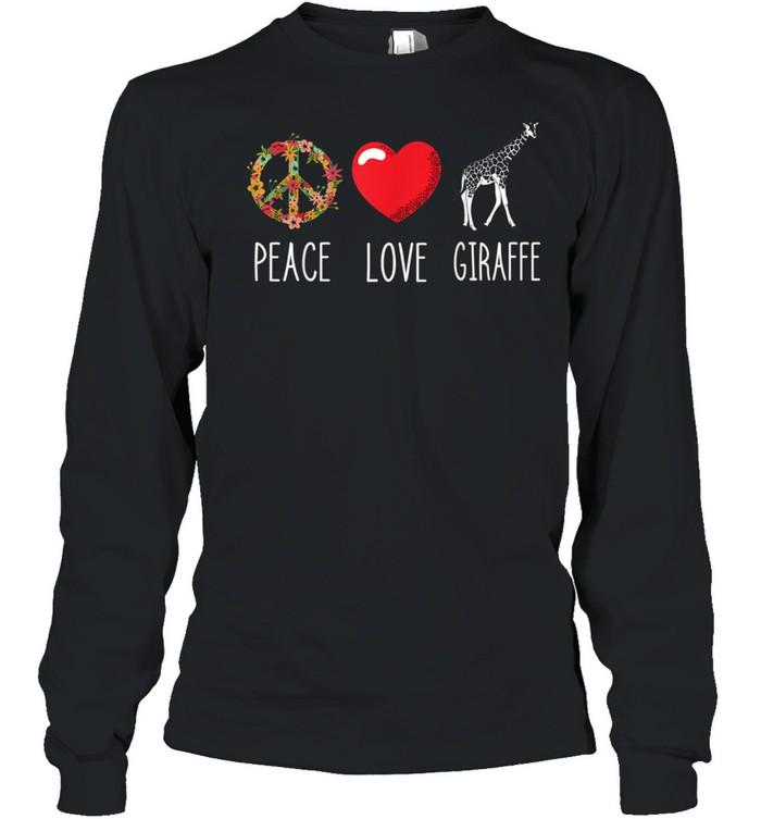 Giraffe Peace Camelopard Terrestrial Animal Ruminant  Long Sleeved T-shirt