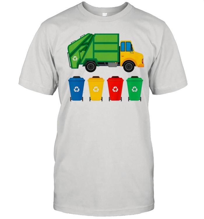Kids garbage truck recycling bins earth day children toddler shirt