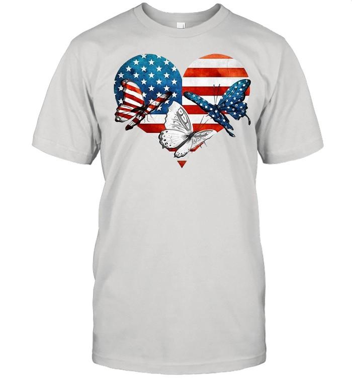 Butterflies US Flag Heart T-shirt