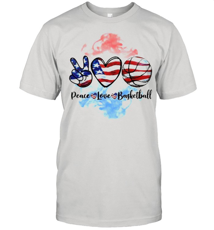 Peace love basketball 4th of July Independence shirt