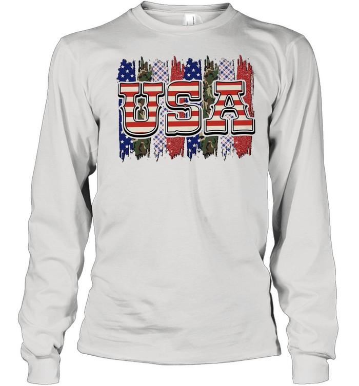 Camo american flag shirt Long Sleeved T-shirt