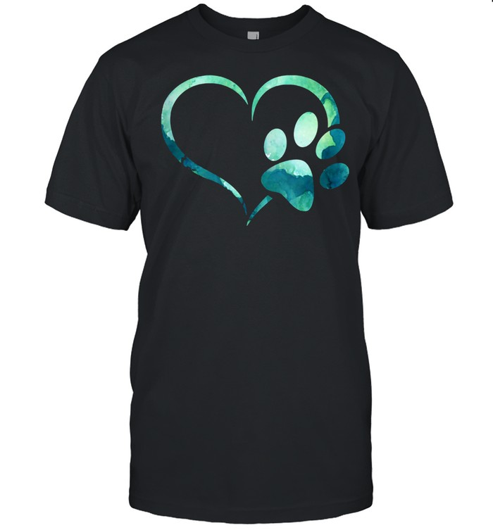 Light Green Watercolor Dog Paw Print Heart For Dogs shirt