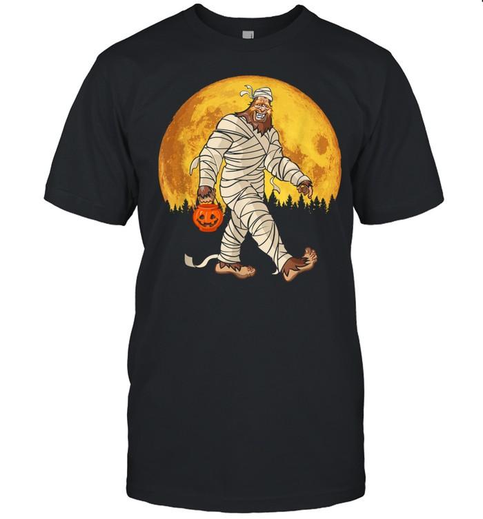 Bigfoot Mummy Costume Moon Halloween Sasquatch DOTD shirt