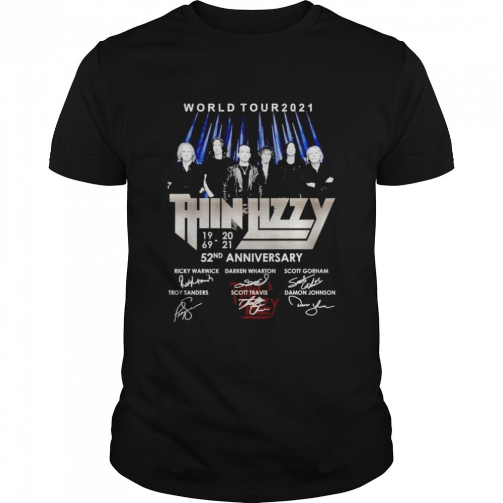 World tour 2021 Thin Lizzy 52nd Anniversary members signature shirt