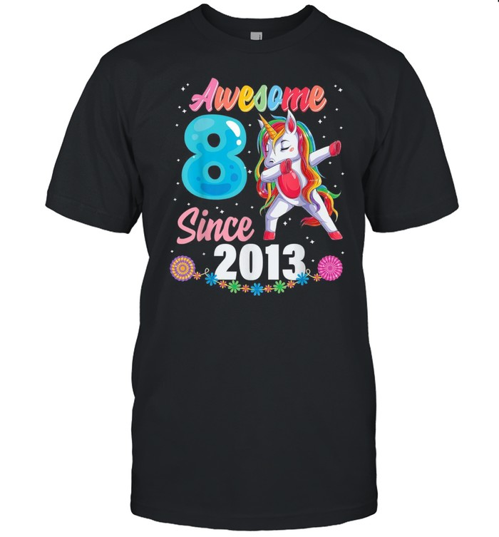8 year old girl birthday party 8th awesome dabbing unicorn shirt