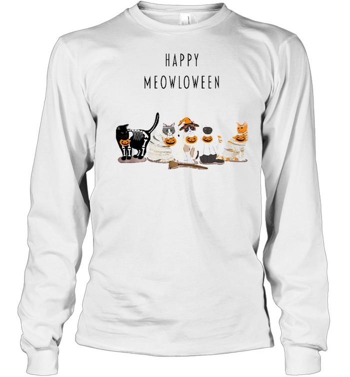 Happy Meowloween Cats shirt Long Sleeved T-shirt