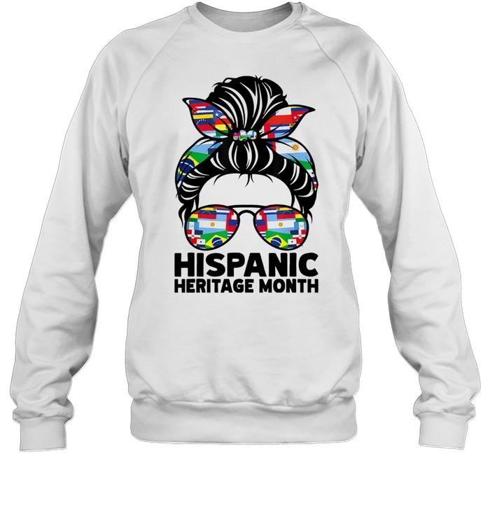 National Hispanic Heritage Month Messy Bun Hair Sunglasses  Unisex Sweatshirt