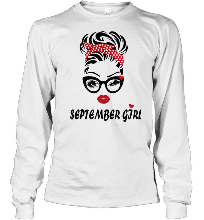 September Girl Wink Eye Woman Face Was Born In September  Long Sleeved T-shirt