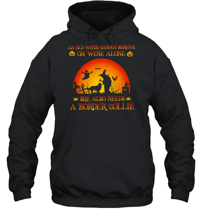An old witch cannot survive on wine alone she also needs a border collie Halloween shirt Unisex Hoodie