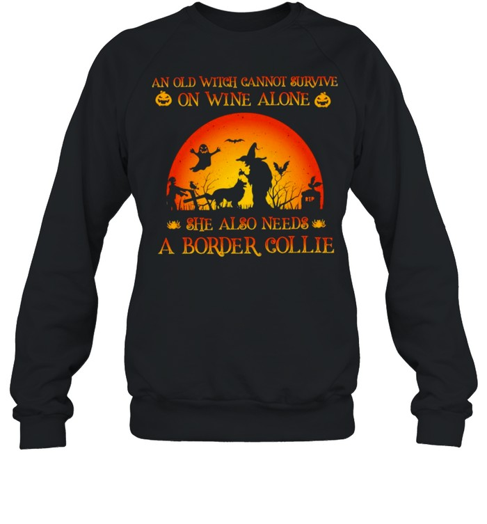 An old witch cannot survive on wine alone she also needs a border collie Halloween shirt Unisex Sweatshirt