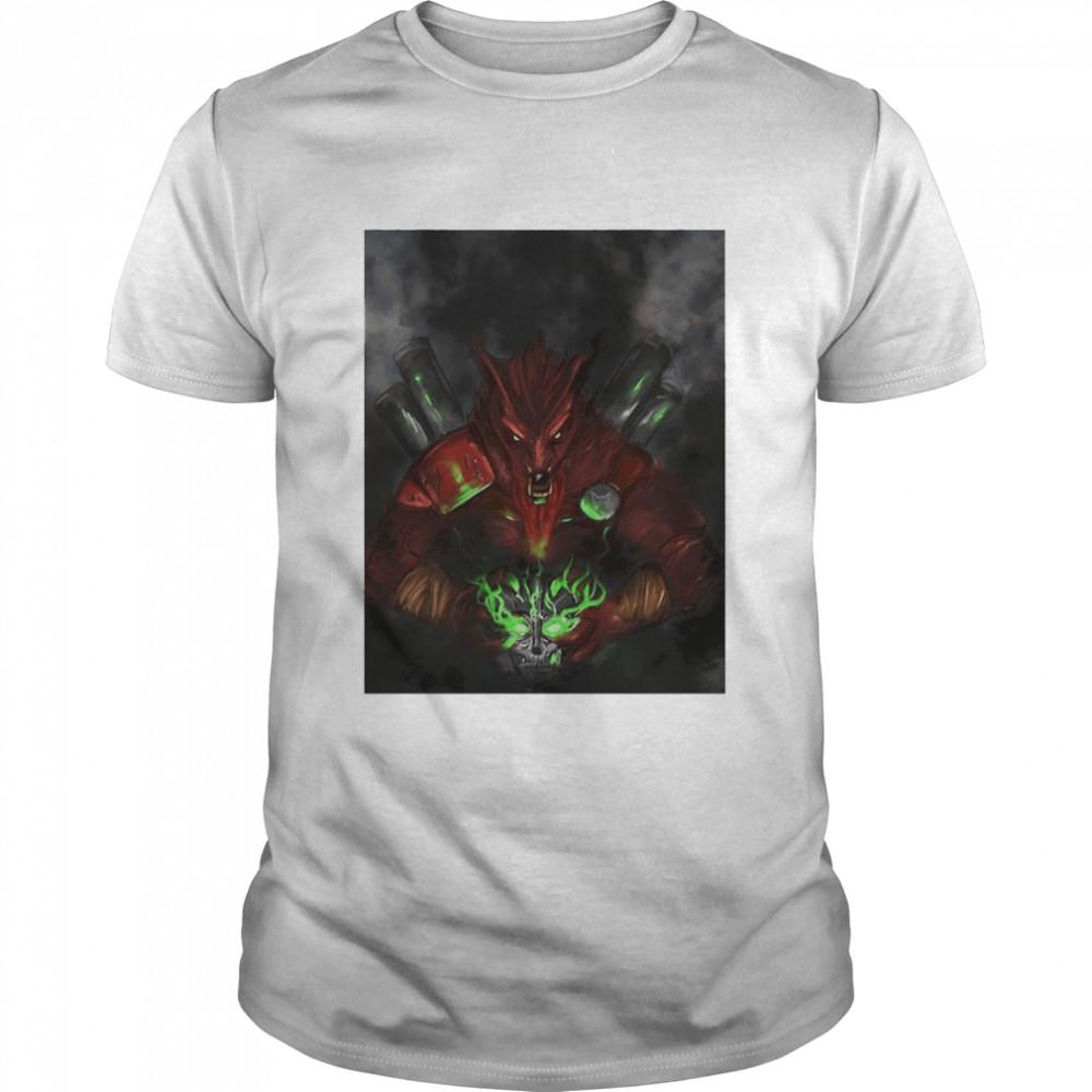 Mad Max Wolf and skull shirt